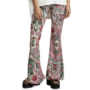New Free People Harper Pull On Paisley Bell Bottom